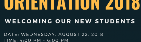 2018 Program Orientation (Admitted Students Only) - Wednesday, August 22, 2018