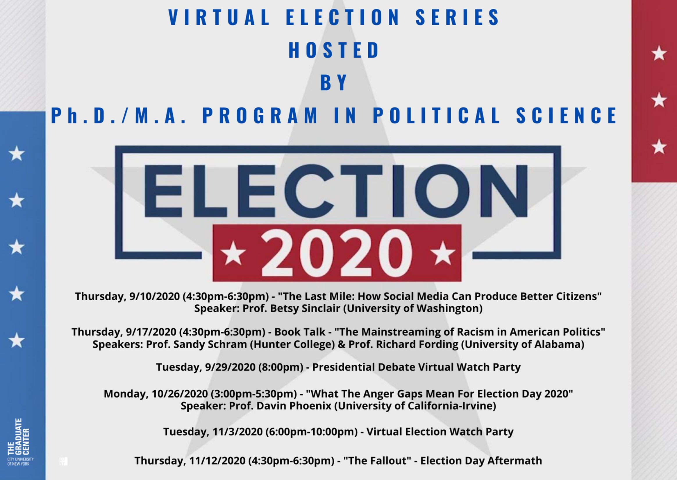 Election 2020: Unprecedented Politics, New Challenges for Political Science