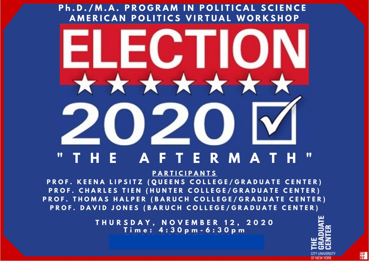 "Election Series: ""The Aftermath"" Department Discussion, Thursday, November 12, 4:30-6:30PM"