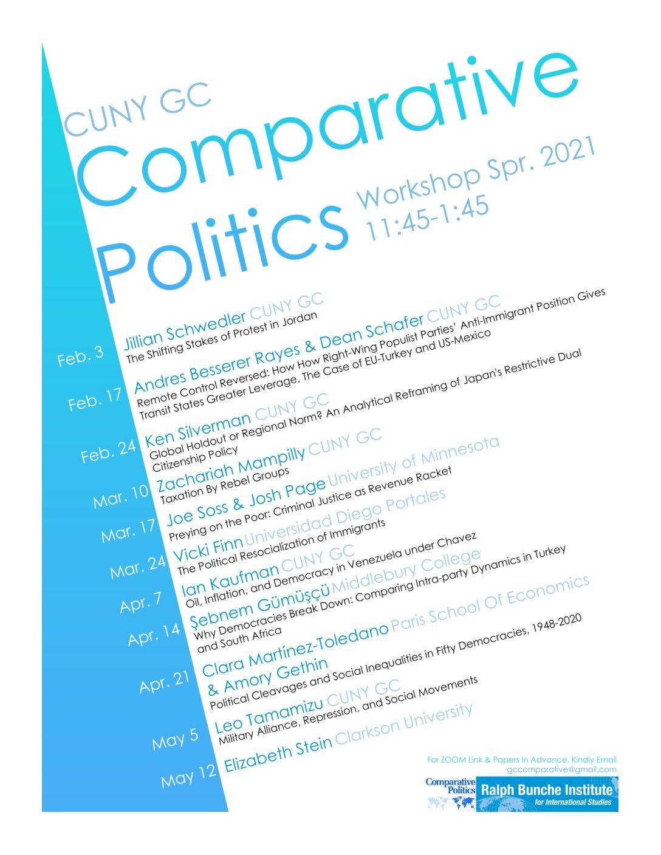 Comparative Politics Workshop Spring 2021 Schedule Announced