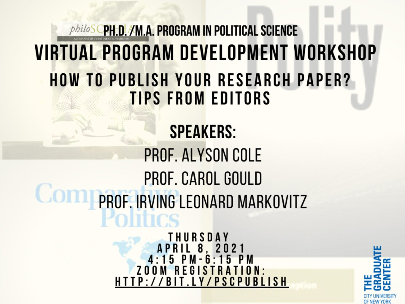 """Professional Development Workshop: """"How to Publish Your Research Paper? Tips From Editors"""" Thursday, April 8, 4:15pm"""