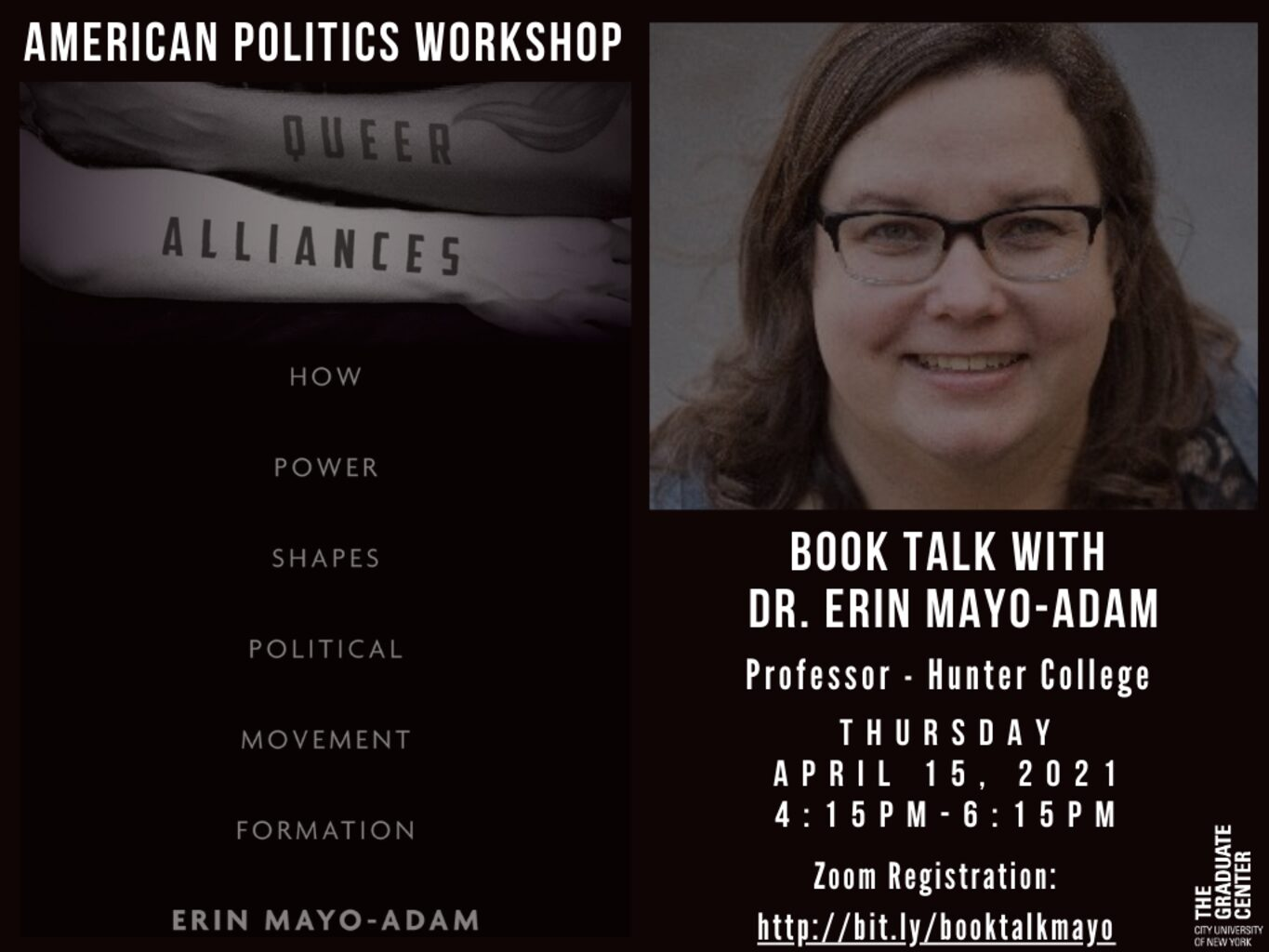 "American Politics Workshop: Erin Mayo-Adam, ""Queer Alliances – How Power Shapes Political Movement Formation,"" Thursday, April 15, 4:30-6:30pm"