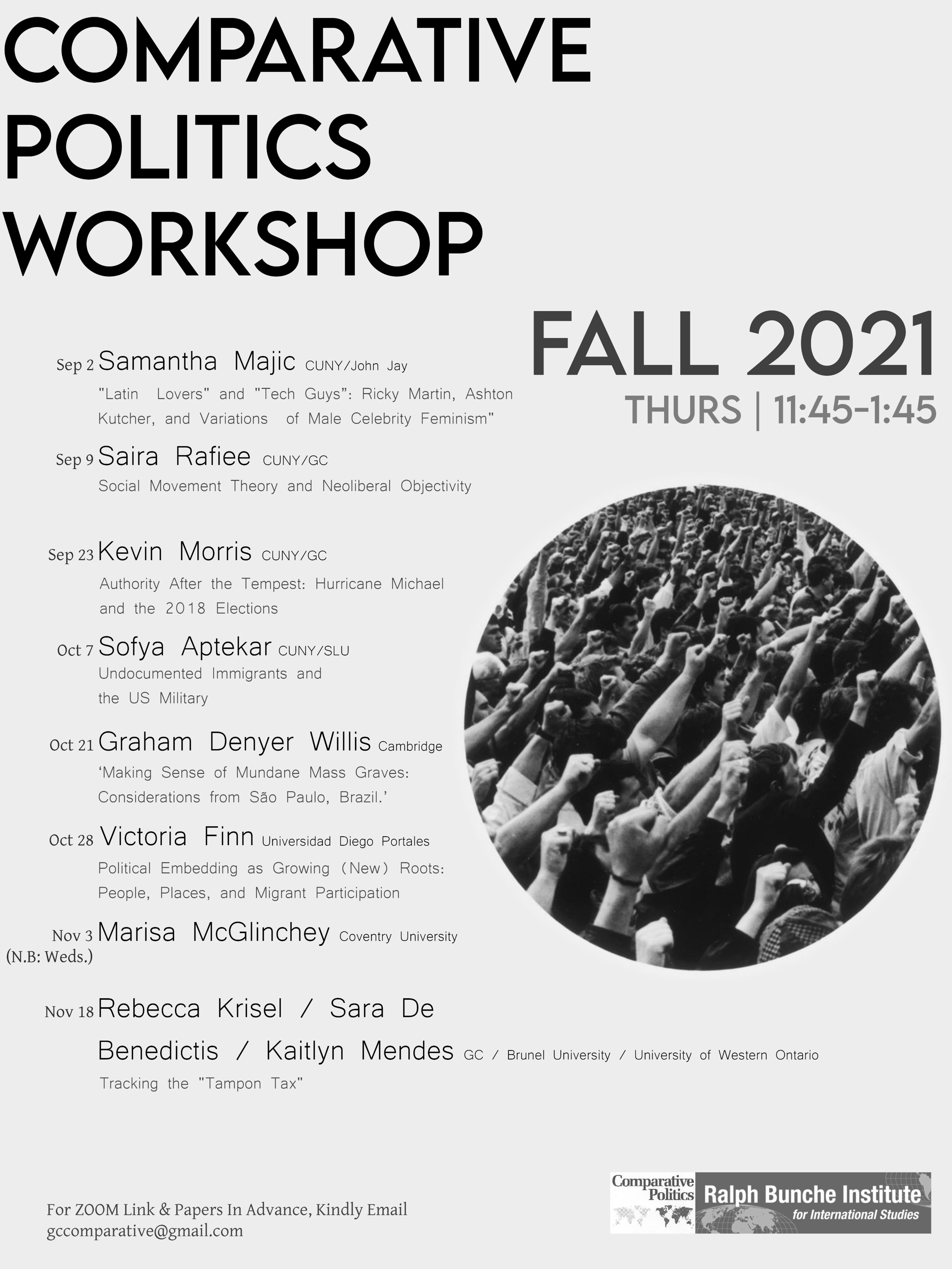 Comparative Politics Workshop Schedule Announced: Fall 2021