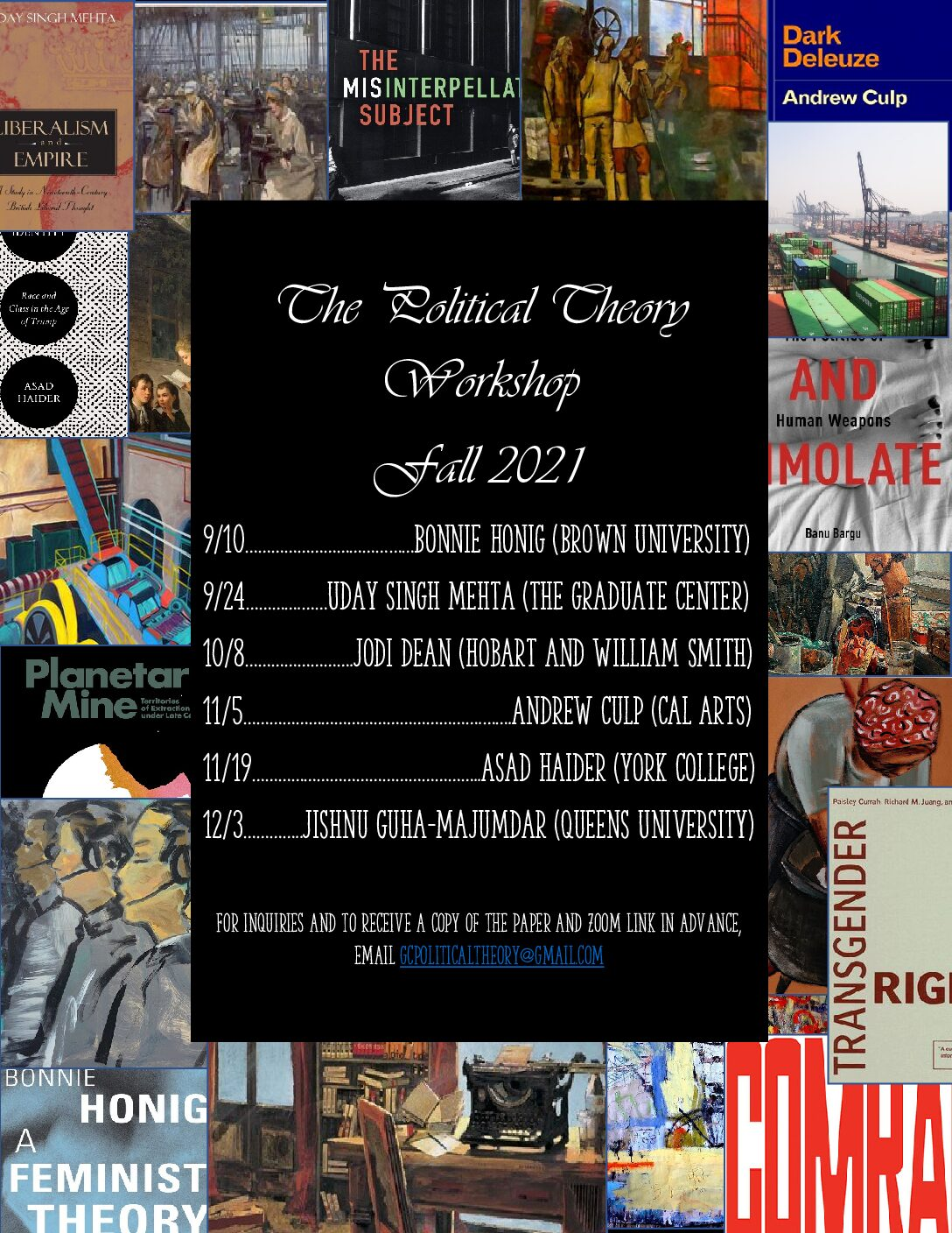 Political Theory Workshop Schedule Announced: Fall 2021